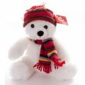 AURORA Игрушка мягкая Медведь Белый в шапке  30 см