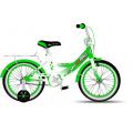16 MAXXPRO (бело/зеленый) 2-х кол.вел. в р/в 75% сбор. (2бок.страх.колеса:метал:рама,багажник,крылья,звонок,тормоз:перед-ручной,задний-ножной)