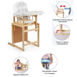 Мишутка Стул-стол для кормления ГЛОБЭКС Белый