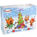 Веселый праздник. Три кота. С Новым Годом! Пакет подарочный 46х61х20см.  глянцевый уп-12шт в кор.6уп