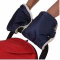 BAMBOLA Муфты-варежки для коляски шерстяной мех+плащевка(лайт) Темно-синие