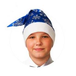 100-4 Колпак  Синий со снежинками, сатин