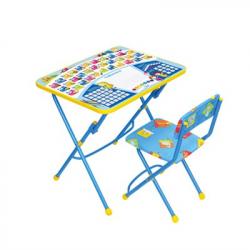 НИКА Набор мебели ПЕРВОКЛАШКА синий фон (стол-парта+мяг стул) h580
