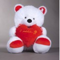 Мишка Валентин белый с сердцем (120 см)