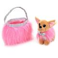 Мягкая игрушка собака чихуахуа 19см в розовой сумочке, в пак. (русс. уп.)